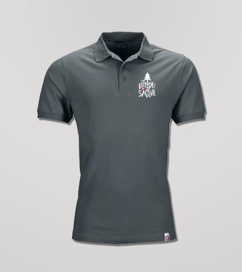 Polo Graphite Homme Grand Logo Fondu De Savoie