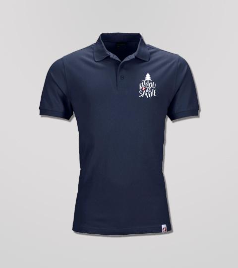 Polo Navy Homme Grand Logo Fondu De Savoie