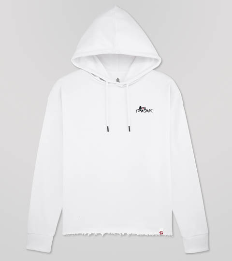 Sweat Shirt Blanc à Capuche Fondu De Savoie
