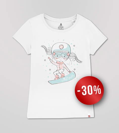 T-shirt Fille Blanc Snowboardeuse Fondu De Savoie