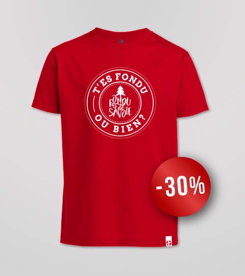 T-shirt Garçon Rouge «T'es Fondu Ou Bien?»